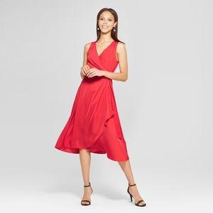 Red V Neck Midi Wrap Dress